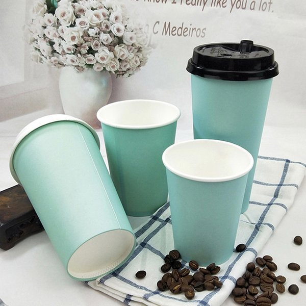 200pcs 16oz Blue thick paper cup disposable 500ml coffee cup milk tea hot drink beverage takeaway packaging cups with lids
