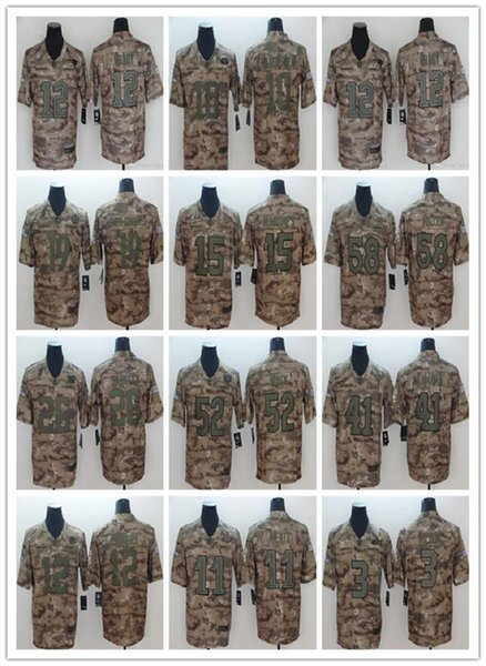 brand new c7c99 fc0a1 2019 Camo Salute To Service 6 Baker Mayfield 52 Bears Khalil Mack Giants 26  Saquon Barkley Jersey 15 Chiefs Patrick Mahomes 12 Aaron Rodgers From ...