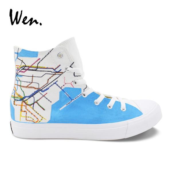 Wen Hohe Ankle Canvas Sneakers Ursprüngliches Design NY City Map U-Bahn Route Handgemalte Schuhe Weiß Plimsolls Männer Frauen Zapatos # 245544