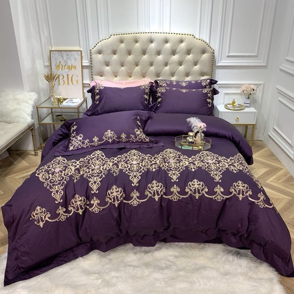 Luxury Embroidery Egyptian Cotton Bedding Set Duvet Cover Bed sheet Pillowcase Queen King Size 4PCS Home textile