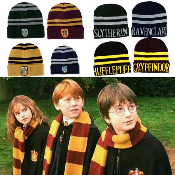 8style Harry Potter Beanie Hat Gryffindor Slytherin Hufflepuff Ravenclaw Cap Cosplay Striped Badge Hats Warm Winter Cap MMA2317