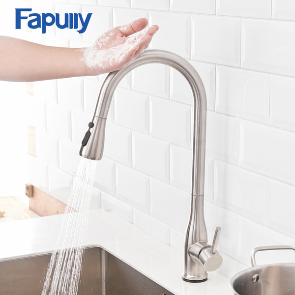 2019 Fapully Sensitive Touch Kitchen Faucets Stainless Steel Sensor Smart  Pull Out Sprayer Hand 360 Degree Rotation Mixer Taps CP1025 From Adeir, ...