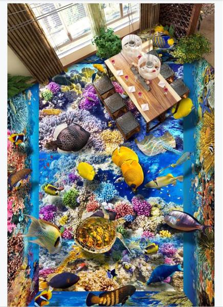 Customized 3D Self-adhesive floor photo mural wallpaper Living room underwater world sea turtle seaweed 3D waterproof floor stickers