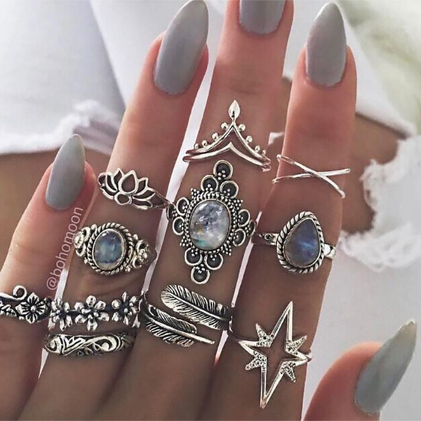 Bohemian Antique Silver Geometric Rings Set For Women Retro Starry Star lotus charm Midi Knuckle Finger Ring Ladies Boho Jewelry Gift