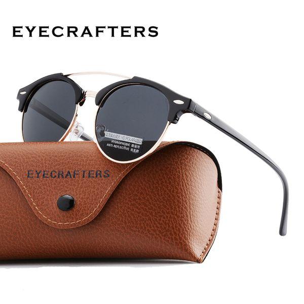 Moda Mens Club Round Occhiali da sole Polarizzati Womens Brand Designer Polaroid Double Bridge Occhiali da sole Oculos de sol