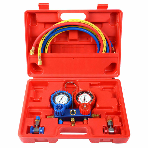 top popular R134A Manifold Gauge Set AC A C 6FT Colored Hose Air Conditioner w  Case Red New 2020