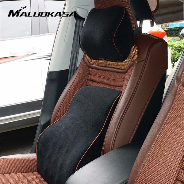 Office Car Auto Seat Supports Back Cushion And Headrest Neck Pillow Memory Cotton Foam Lumbar Back Support Driver Spine Pain SH190713