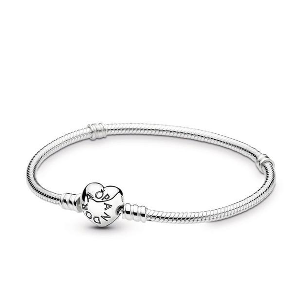 2019 Designer di lusso pulsera de 925 braccialetto in argento pandora iconico per le donne charms fai da te catena cuore chiusura regalo liscio scatola originale