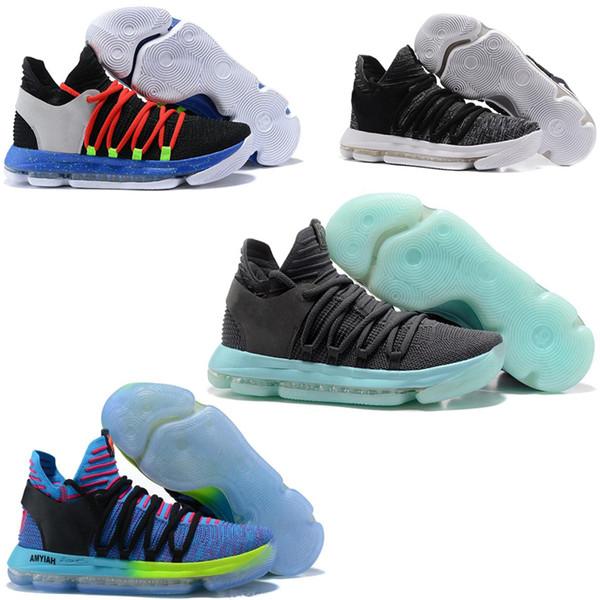 2019 Yeni Erkek KD Teyze Inci Gökkuşağı Colorway Sınırlı Durant 10 X Konfeti Renkli Basketbol Ayakkabıları Çin Kasaba Spor Sneakers BOYUTU 7-12