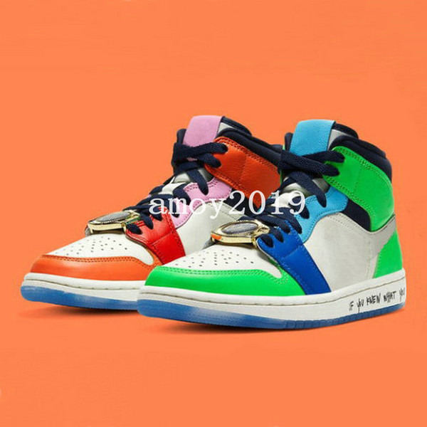 2020 Melody Ehsani x 1 Mid WMNS Fearless Mens Basketball Shoes baskets 1s What the Mandarin Duck gold watch splicing designer Sneakers