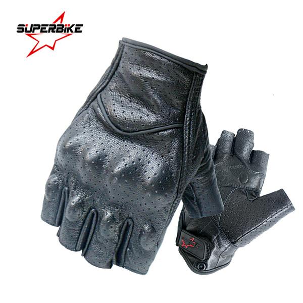 Motorcycle Gloves Half Finger For Men Male Mitt Glove Fingerless Leather Summer Men Women Scooter Moto Mitten Electric Bike Racing Cycling