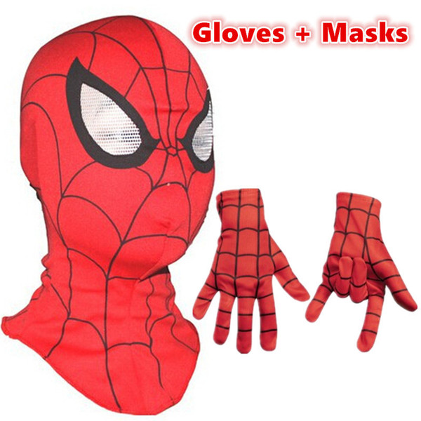 Spiderman mask / Spider-Man Gloves Cosplay Children And Adult Cosplay Halloween Party Supplies Avengers Carnaval Costume Kids