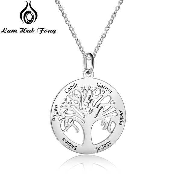 Customized 6 Names Stainless Steel Family Necklace Tree of Life Pendant Necklace Personalized Gift for Mother (Lam Hub Fong)