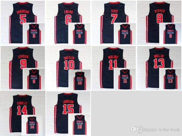 watch a0c03 a503f 2019 1992 USA Dream Team Jerseys Cheap 7 Larry Bird 6 Patrick Ewing 13  Chris Mullin 8 Scottie Pippen 10 Clyde Drexler 11 Karl Malone 15 Johnson  From ...