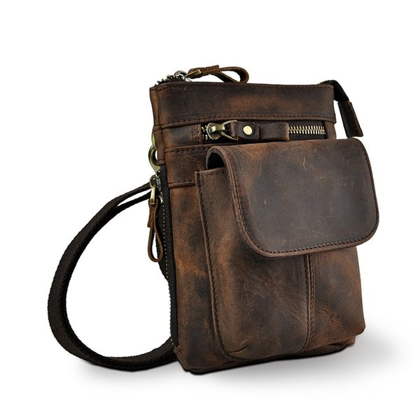 Real Leather Men Multifunction Design Small Crossbody Messenger One Shoulder Bag Fashion Waist Belt Bag Cigarette Case 611-18 J190521