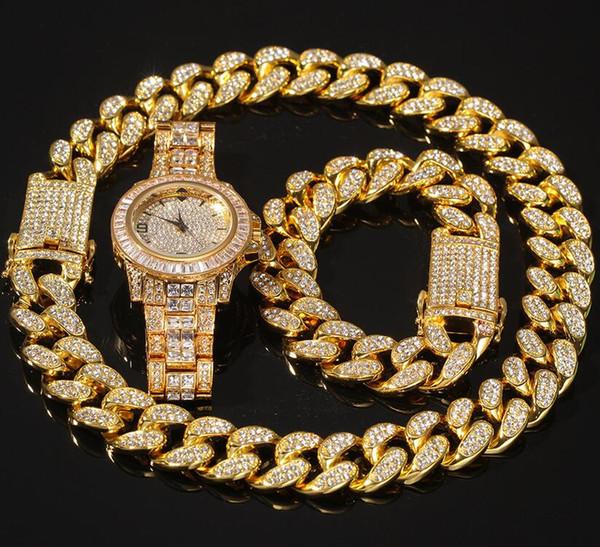3шт / набор Мужчина Хип-хоп замороженный из шика цепи ожерелья браслетов часов 20мм ширины цепи ожерелье кубинской Hiphop ювелирных изделия шарма лучшие подарки