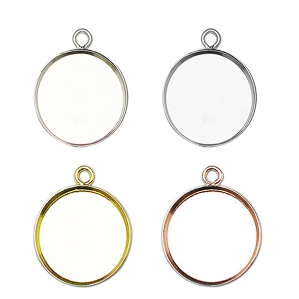 wholesale Round Pendant Blank Bezel Setting With Hoop Cabochons Setting Base for Accessories And Jewelry