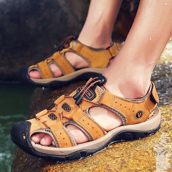 Male Shoes Big Size Genuine Leather Men Sandals Summer Men Shoes Beach Sandals for Man Fashion Brand Outdoor Casual