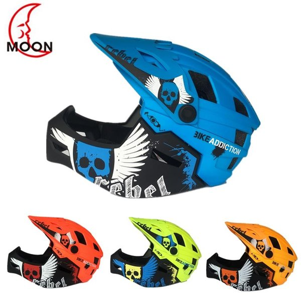 2 In 1 Children Full Covered Helmet Full Face Cycling Motocross Downhill MTV DH Safety Helmet Bicycle Downhill For Kids