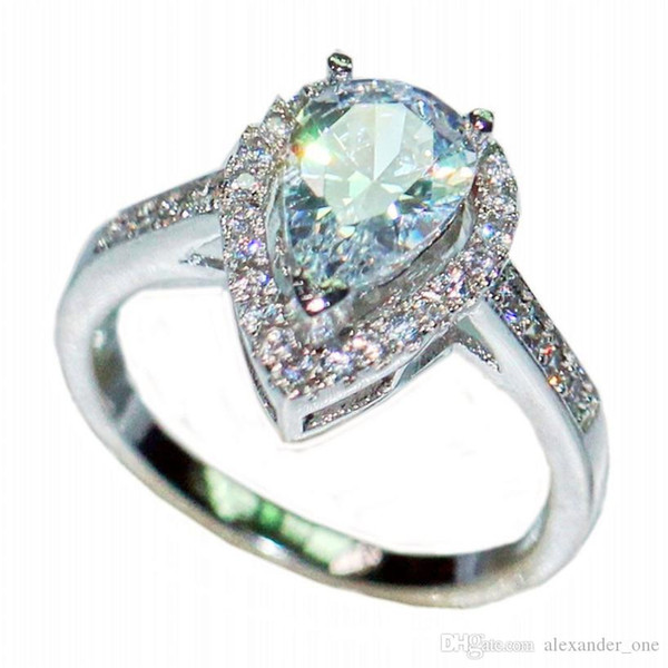 Luxurious Delicate Pear-Shaped Simulated Diamond CZ gemstone Rings Finger Fashion 925 Sterling Silver Wedding Bride Jewelry For Women