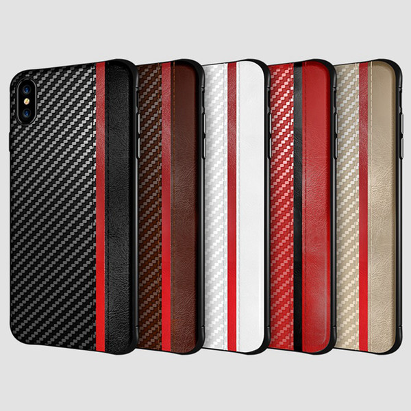 Per Iphone 11 pro XR XS MAX x 8 7 6S più telefono cellulare caso di carbonio fibre di cuoio della copertura di caso di struttura per Samsung Galaxy S8 S9 S10 PLUS lusso