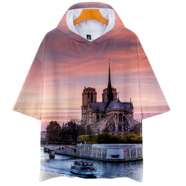 Notre Dame DE Paris Hombre Sudaderas con capucha de manga corta para mujer 3D Impreso Tops O-cuello de moda camiseta masculina ropa causal