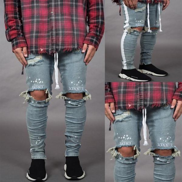 Jeans dal design esclusivo da uomo Foro per uomo Jeans elasticizzati Denim uomo 2019 Pantaloni slim e a righe nuova moda