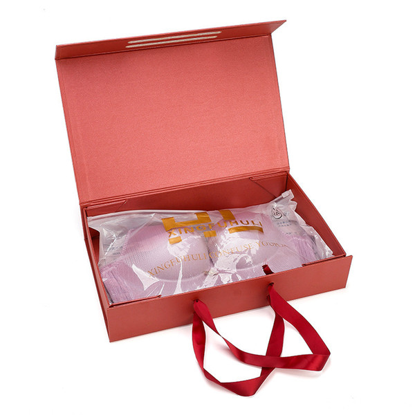 Cardboard Foldable Boxes with Ribbon Handle Party Favor Gift Boxes Paper Packaging Box for Underwear Bra Clothes Shirt