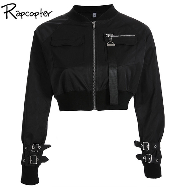 Rapcopter Outerwear Coat Bomber Jacket Women Patch Long Sleeve Autumn Jacket Pocket Hig Waist Buckle Zipper Streetwear JacketMX190929