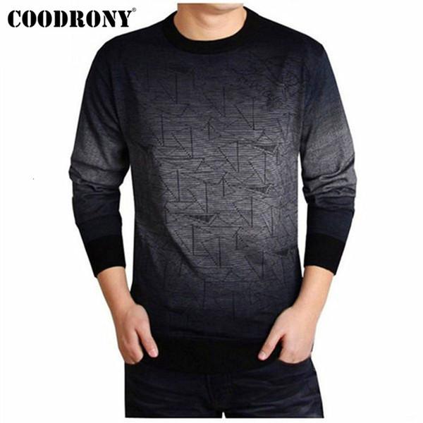 COODRONY Kaschmirpullover Herren Markenkleidung Herren Pullover Print Freizeithemd Herbst Wollpullover Herren Oansatz Pull Homme Top 613 SH190914