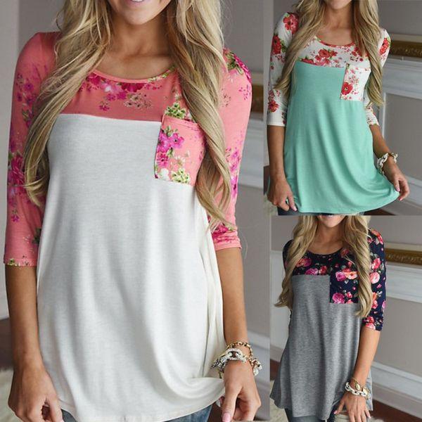 Sonbahar Kadın Gevşek Pamuk Çiçek Baskı T Gömlek Tops Gri Whiet Vintage Uzun Kollu Gömlek Casual Kadın Euramerican Tarzı Tops
