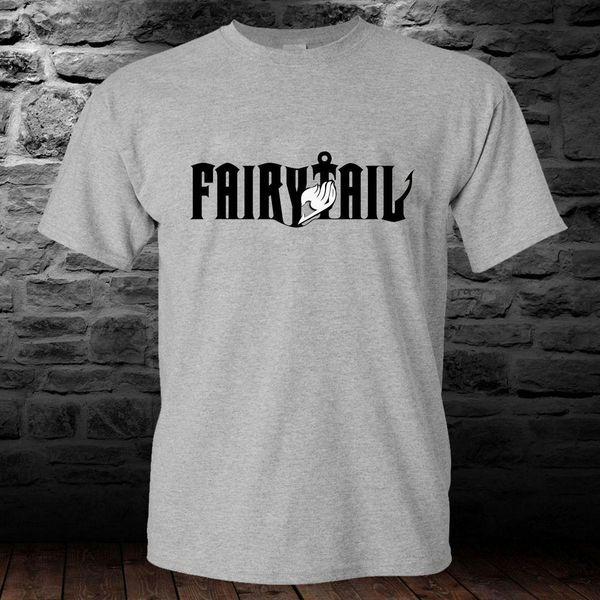 Fairytail Lucy Natsu Manga Anime Grey T-shirt para hombre Camiseta S a 3XL Nuevo Metal de manga corta Camisa casual Impresión de la letra