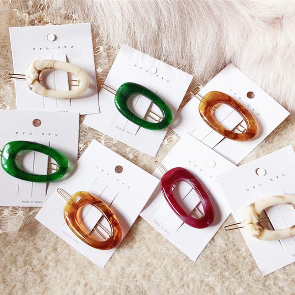 AOMU 2019 Korea Japan Style Acrylic Resin Hairpins Women Fashion Hair Accessories Hollow Geometric Oval Hair Clips Hairgrip