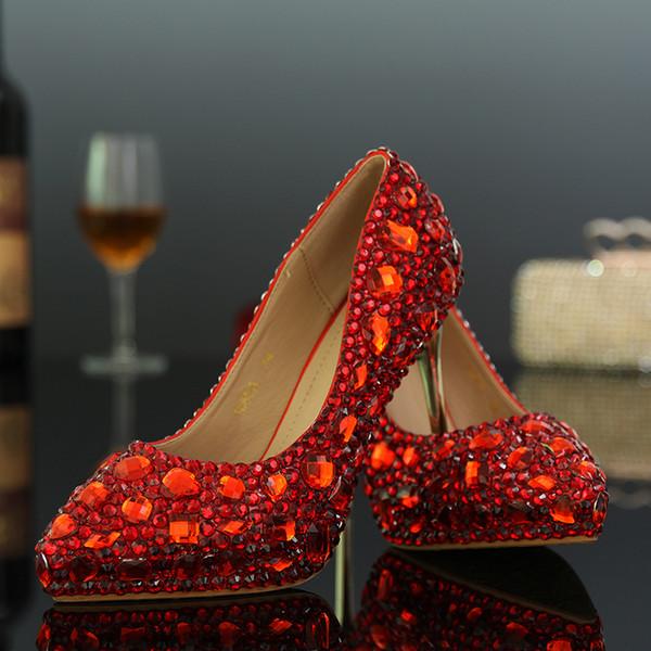 2018 printemps et automne bout pointu strass chaussures de mariage chaussures en cristal chaussures de mariée sexy strass talons minces talons hauts