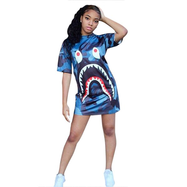 women shark camo dress animal print short skirts casual loose T-shirt dresses summer short sleeve mini dress designer clothes LJJA2618