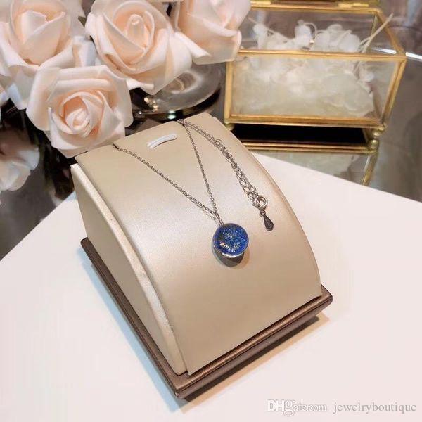 Auténtico collar de plata de ley 925 con joyería de flor de Sakura para mujeres de bodas y regalos de noche PS5038