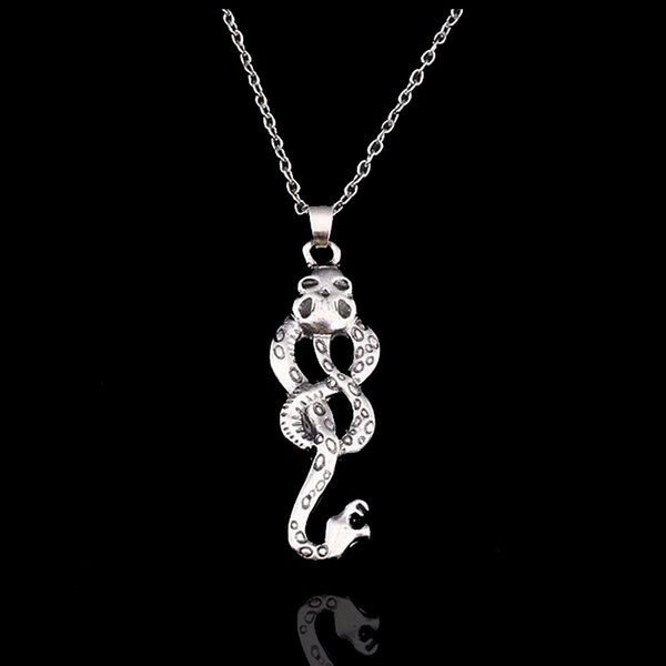 New Trendy Movie Jewelry Harry Style Horcrux Snake Necklace Women Lady Antique Silver Snake Pendant Necklaces
