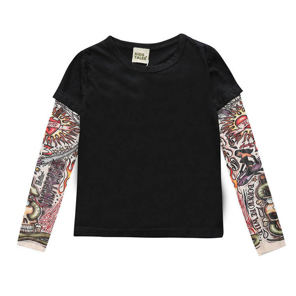 2019 Autumn New Men and Women T-shirt European and American Children Clothing Long-sleeved Stitching Hip-hop Wind Sashimi Tattoo Sleeve