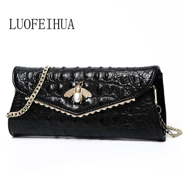 LUOFEIHUA 2019 new fashion trend crocodile chain handbags Leather shoulder messenger bag Leather clutch bag