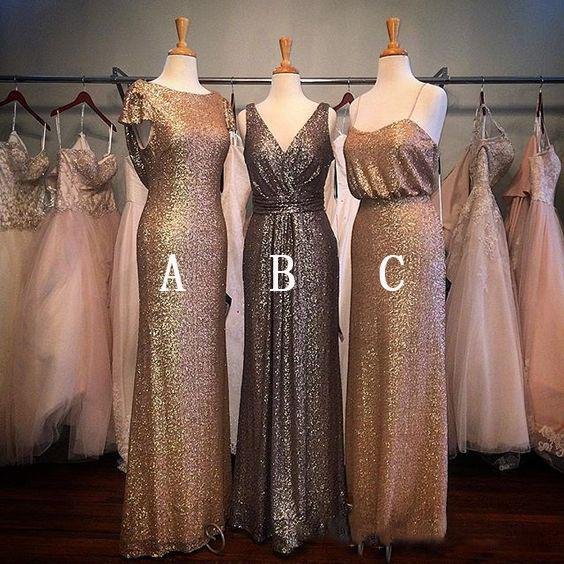 Mix Style Shining Sequined Maid Of Honor Gowns Cheap Long Prom Party Dress Zipper Back Cheap Bridesmaid Dresses 2019