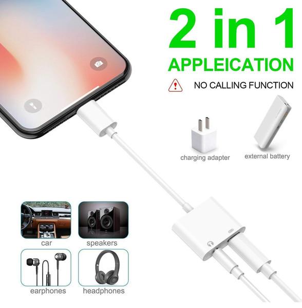 2 in 1 Adaptörü 3.5mm Aux Jack Kulaklık Kulaklık Ses Splitter Beyaz Kablo Şarj Müzik iphone 8 Için X XS Max XR