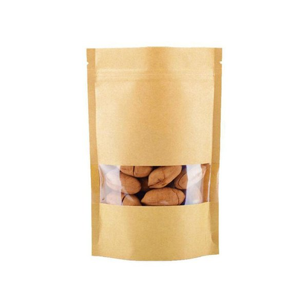 9x14cm 100Pcs Food Bags Moisture-proof Brown Kraft Paper Bags with window Doypack Pouch Ziplock Packaging for snacks Cookies
