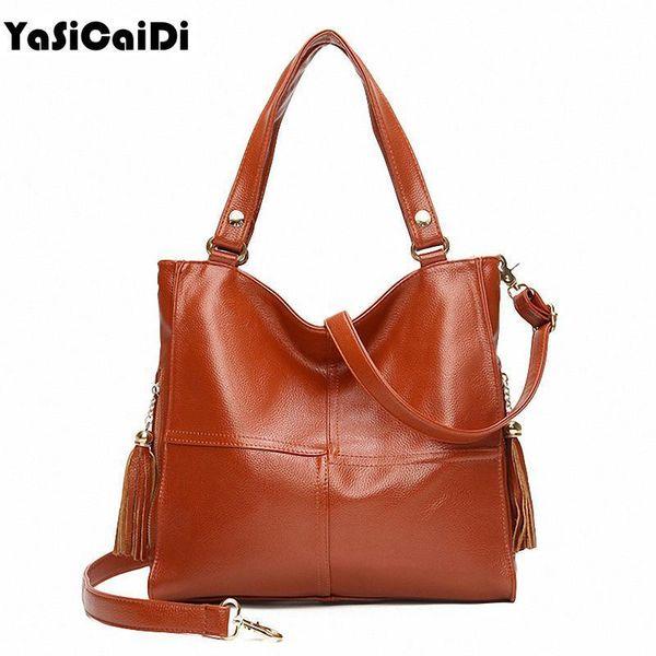 YASICAIDI Soft Leather Women Shoulde Bag Black Sheepskin Leather Women Handbag Double Zipper Tassel Crossbody Bag Stitching