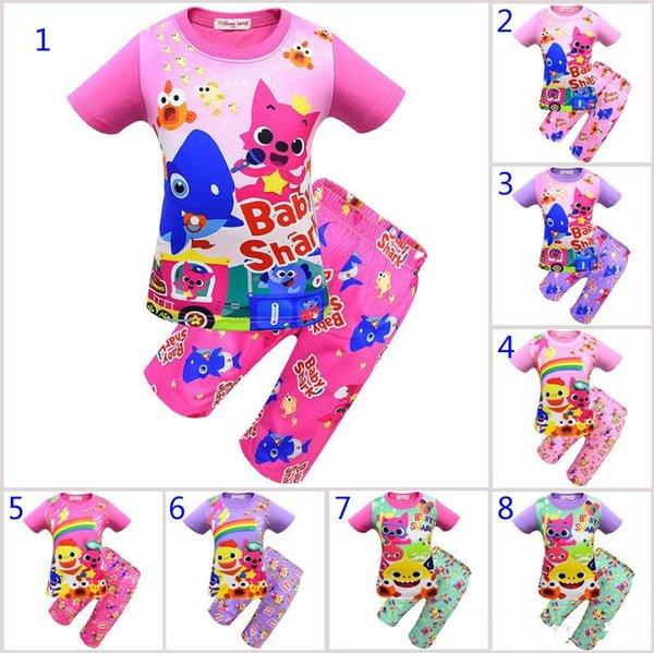 8 Style garçons filles bébé requin pyjama 2019 nouveaux enfants requin bébé T-shirt à manches courtes + pantalon à cinq points 2pcs ensembles costumes B11
