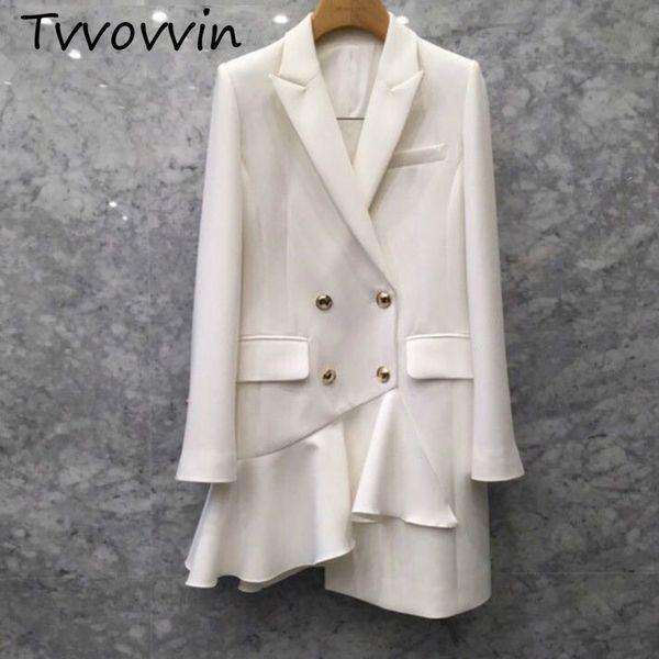 tvvovvin 2019 new spring and summer turn -down collar full sleeves double breasted asymmetric rummy coat female v917