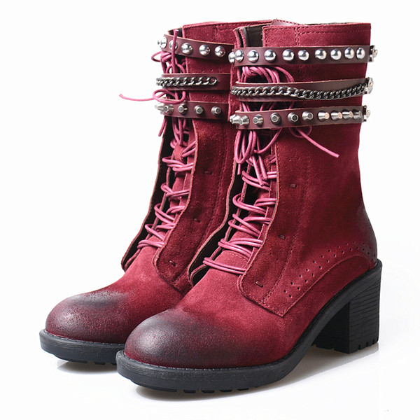 rivet stud belt leather martin boots women winter shoes chain decor round toe chunky high heel short boots zippers causal knight boots