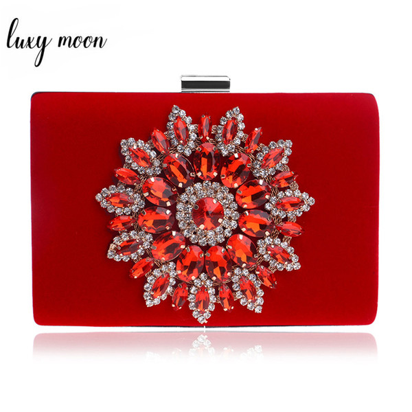 Luxy Moon Flower strass Donne Borse sacchetto di sera Rosso Nero Borse catena della spalla Frizioni Giorno metallo Femminile Borsa Wedding