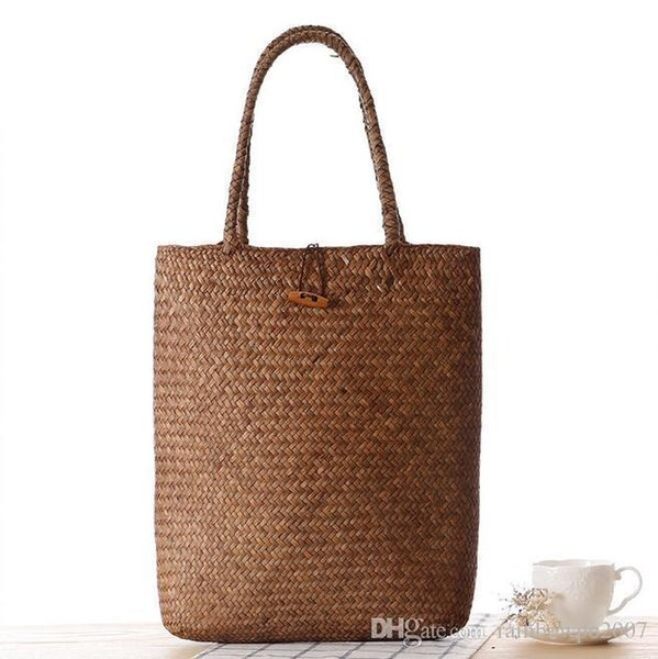Factory Direct Forest Mat Knitting Handbag Fashion Pastoral Style Simple All-match Lady Beach Bag Straw Bag Retro Lady Handbag