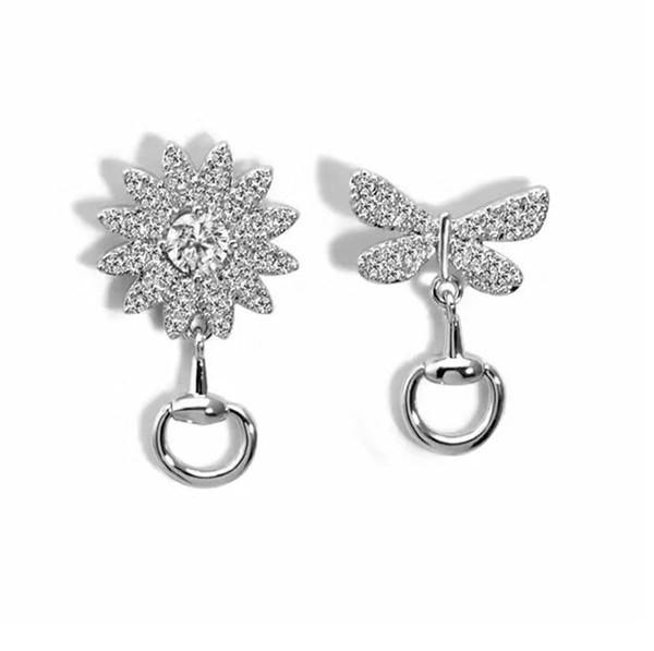 Designer womens earrings design luxury jewelry women earrings asymmetrical stud 925 pure silver concise fashion versatile hot style