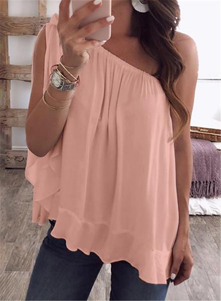 Bonbons Couleur Lâche Femmes D'été T-shirts Couleur Unie Hors Épaule Dames Hauts Casual Tops Plus Size Womens Clothing